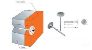 Крепление пеноплекса дюбелями-зонтиками