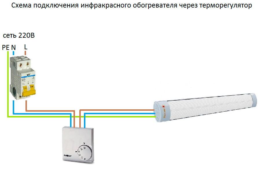 Схема подключения потолочного ИК обогревателя с термостатом