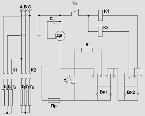 Принципиальная электрическая схема тепловой завесы