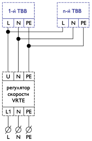 Схема однофазного подключения водяного тепловентилятора