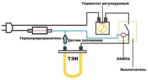 Подключение тэна с терморегулятором схема