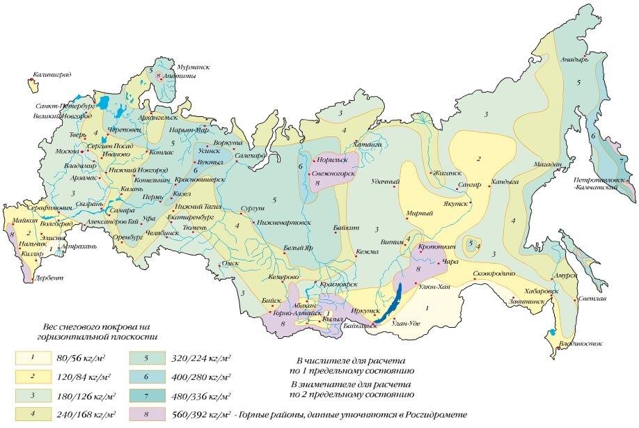 Карта - Нагрузка снега на крышу для различных регионов